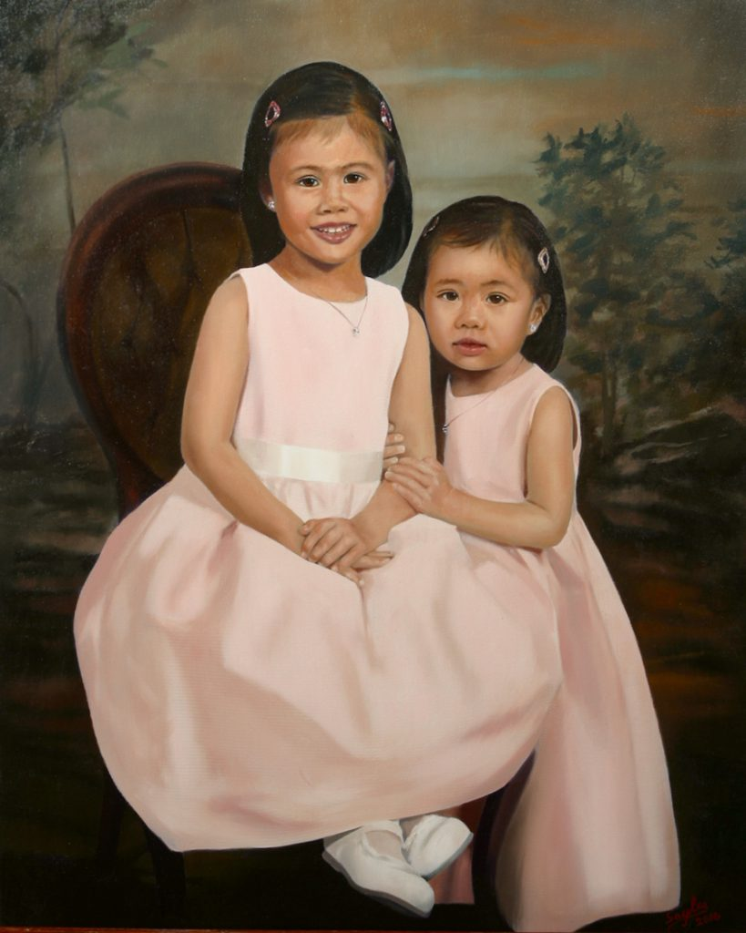 custom oil painting of two girls