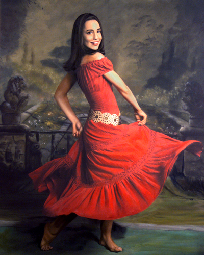 custom oil painting of woman dancing