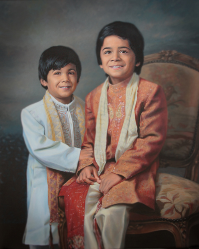 custom oil painting of two boys