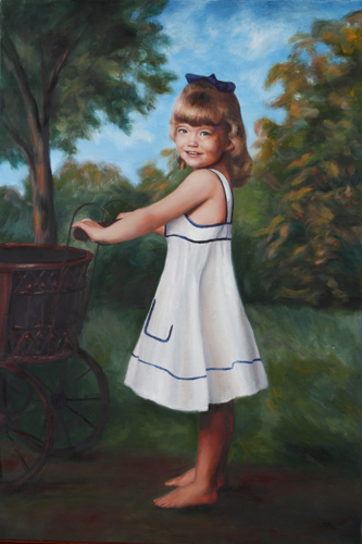 custom oil painting of young girl