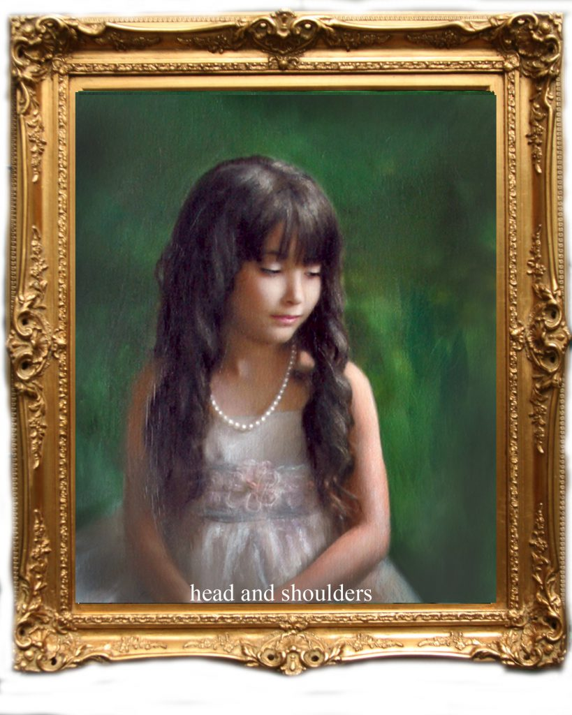 head and shoulders oil painting of girl