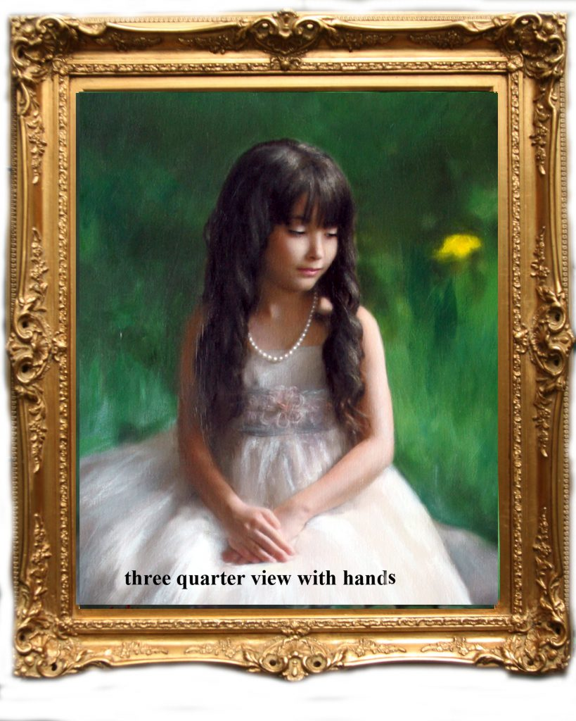 three quarter oil painting of girl