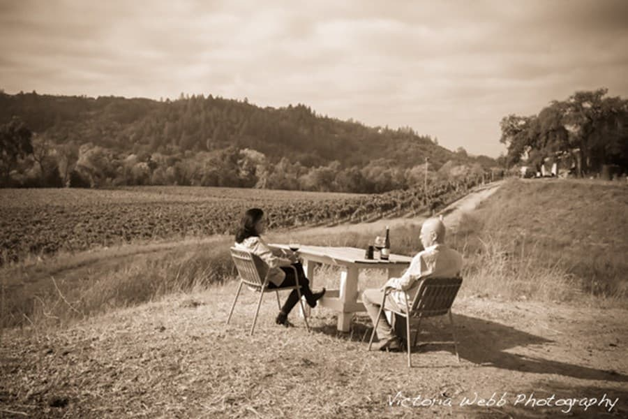 Couple enjoying view of vineyard