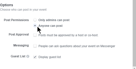 guests can post on your event