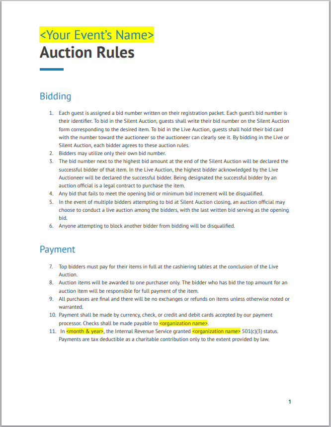 Auction Rules Sheet