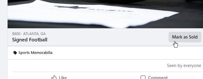 Facebook Item is sold