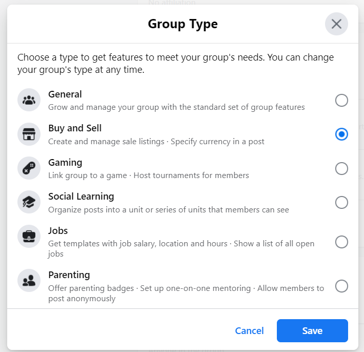 Buy and Sell Facebook Group Type