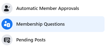 facebook membership questions